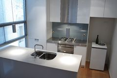 Modern kitchen. View of a modern, well-equipped kitchen Stock Photos