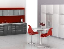 Modern kitchen. In red, black and white Stock Image
