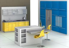 Modern kitchen. With an island in blue and yellow Stock Photography
