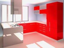 Modern Kitchen. Rendering of modern  red italian kitchen Royalty Free Stock Image
