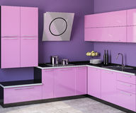 Modern kitchen. Modern pink kitchen. 3d render Royalty Free Stock Photography