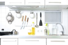Modern kitchen. At home with kitchenware Royalty Free Stock Photography