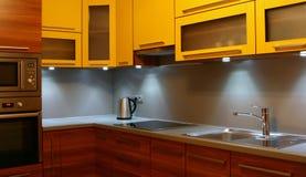 Modern kitchen. Small modern kitchen in a flat royalty free stock photo