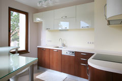 Modern kitchen. Small modern kitchen with bar Royalty Free Stock Images