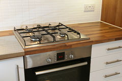 Modern Kitchen. Gas rings/hob in a modern new kitchen Royalty Free Stock Images