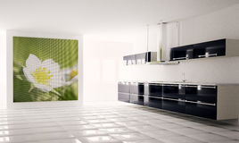 Modern kitchen 3d. Interior of modern black white kitchen 3d render Stock Image
