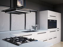Modern kitchen 3d render Royalty Free Stock Images