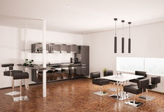 Modern kitchen 3d render Royalty Free Stock Image