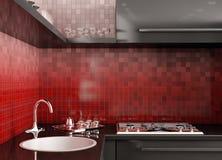 Modern kitchen 3d render Royalty Free Stock Images