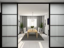 Modern kitchen. 3D render. Kitchen with the modern furniture. 3D render stock photo