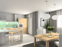 Modern kitchen. 3D render. Kitchen with the modern furniture. 3D render Royalty Free Stock Photography