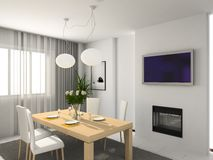 Modern kitchen. 3D render. Kitchen with the modern furniture. 3D render stock photography