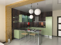 The modern kitchen. Interior design (3D rendering Royalty Free Stock Images