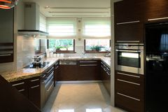 Modern Kitchen. The interiors of a well furnished modern kitchen Royalty Free Stock Images