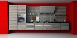 The modern kitchen. Interior design (3D rendering Stock Photography