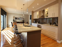 Modern Kitchen. And dining area, in new family home Stock Photos