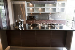 Modern kitchen in an apartment Royalty Free Stock Photos