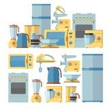 Modern kitchen appliances set. Vector illustration in flat style design. Microwave, pot, fridge, oven Stock Image