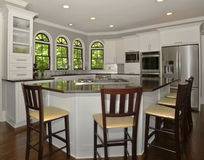 Modern kitchen Area. This is a modern kichen featuring stainless steel appliances and an island with granite countertops Royalty Free Stock Photos