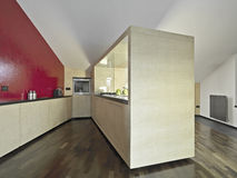 Modern kitchen  in the attic Royalty Free Stock Image