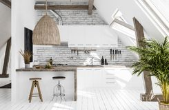 Modern kitchen in attic, Scandi-boho style. 3d render stock photos