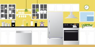 Modern kitchen background. Interior of a modern freshly renovated modern kitchen, EPS 8 vector illustration Royalty Free Stock Photography
