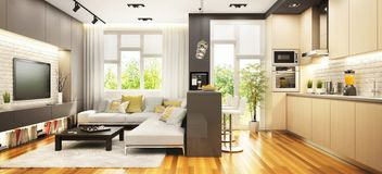 Modern kitchen with bar and living room in the big house royalty free stock photo