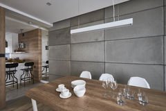 Modern kitchen with beton gray and brown walls Stock Image