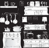Modern Kitchen on black Royalty Free Stock Photos