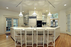 Modern kitchen with breakfast bar royalty free stock photo