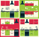 Modern Kitchen Cabinets and Household Equipment. Stock Photography