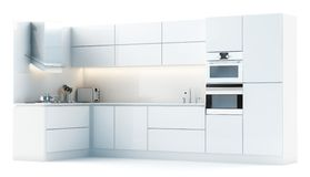 Modern kitchen cabinets in studio Stock Image