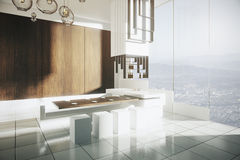 Modern kitchen with city view Royalty Free Stock Photos