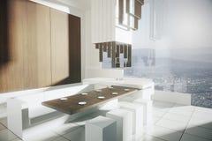 Modern kitchen city view side Stock Image