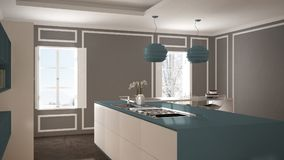Modern kitchen in classic interior,. Island with stools and two big window, top view, white and blue navy architecture interior design stock photo