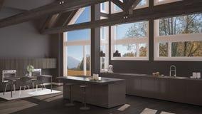 Modern kitchen in classic villa, loft, big panoramic windows on. Autumn meadow, gray minimalist interior design Stock Photos