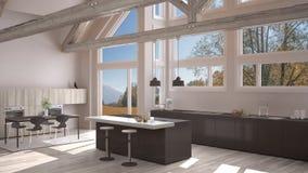 Modern kitchen in classic villa, loft, big panoramic windows on. Autumn meadow, white and gray minimalist interior design Stock Images