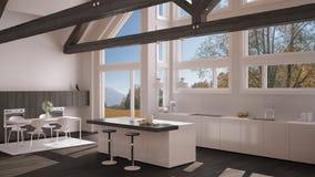Modern kitchen in classic villa, loft, big panoramic windows on. Autumn meadow, white and gray minimalist interior design Royalty Free Stock Photos