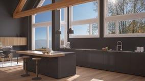 Modern kitchen in classic villa, loft, big panoramic windows on. Autumn meadow, white and gray minimalist interior design Royalty Free Stock Photography