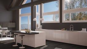 Modern kitchen in classic villa, loft, big panoramic windows on. Autumn meadow, white and gray minimalist interior design Stock Photo