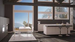 Modern kitchen in classic villa, loft, big panoramic windows on. Autumn meadow, white and gray minimalist interior design Stock Photography