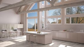 Modern kitchen in classic villa, loft, big panoramic windows on. Autumn meadow, white minimalist interior design Royalty Free Stock Photo