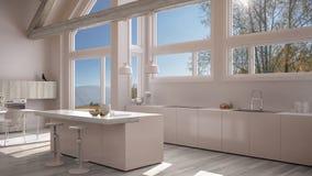 Modern kitchen in classic villa, loft, big panoramic windows on. Autumn meadow, white minimalist interior design Stock Image