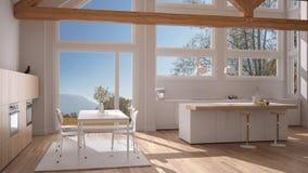 Modern kitchen in classic villa, loft, big panoramic windows on. Autumn meadow, white minimalist interior design Stock Photography
