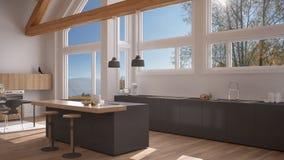 Modern kitchen in classic villa, loft, big panoramic windows on. Autumn meadow, white and gray minimalist interior design Stock Image