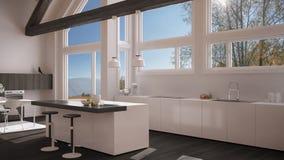 Modern kitchen in classic villa, loft, big panoramic windows on. Autumn meadow, white and gray minimalist interior design Royalty Free Stock Photo