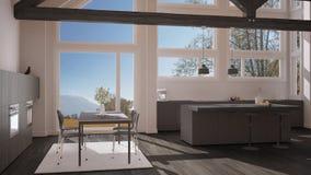 Modern kitchen in classic villa, loft, big panoramic windows on. Autumn meadow, white and gray minimalist interior design Royalty Free Stock Image