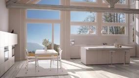Modern kitchen in classic villa, loft, big panoramic windows on. Autumn meadow, white minimalist interior design Stock Photos