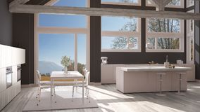 Modern kitchen in classic villa, loft, big panoramic windows on. Autumn meadow, white and gray minimalist interior design Royalty Free Stock Images