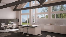Modern kitchen in classic villa, loft, big panoramic windows on. Summer spring meadow, white and gray minimalist interior design Royalty Free Stock Photography